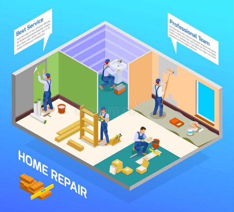Craftsman Repairman Isometric Composition. Home repair craftsman isometric composition with house remodeling professional team flooring painting sanitary vector illustration