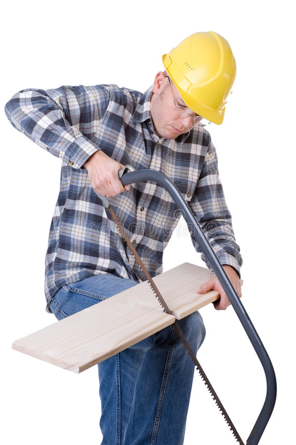 Craftsman with saw. Full isolated studio picture from a young craftsman with a saw stock photography