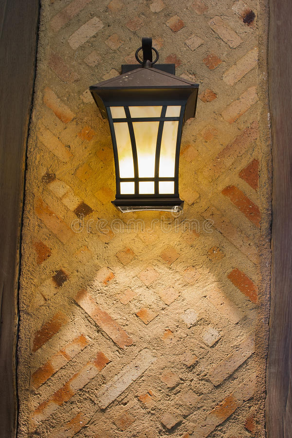 Craftsman Style Exterior Lamp On Exterior Wall Stock Photo