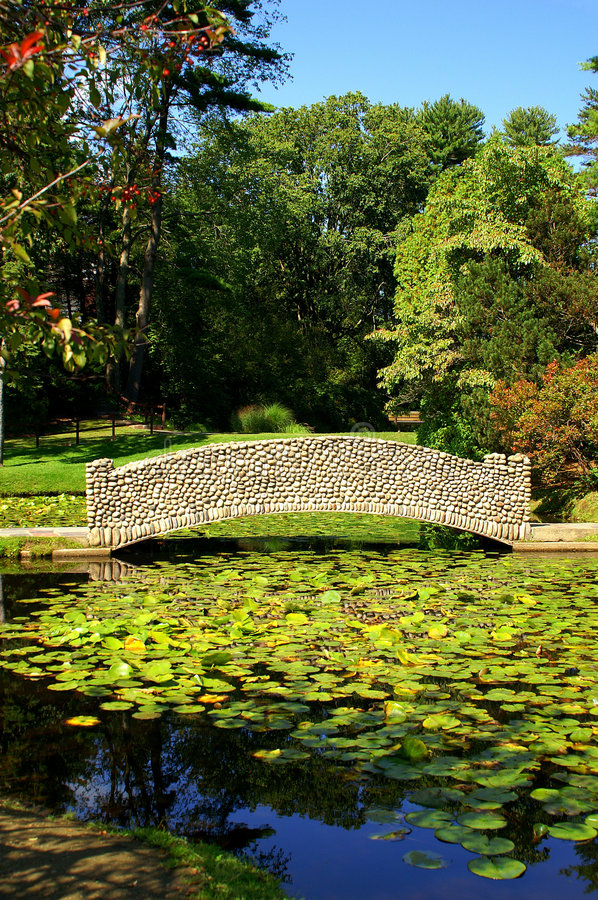 Craftsman Style Stone Bridge and Lily Pond royalty free stock images