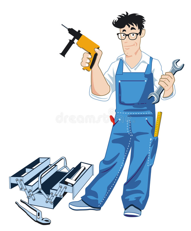 Download Craftsman with tool box stock vector. Image of builders - 21624120