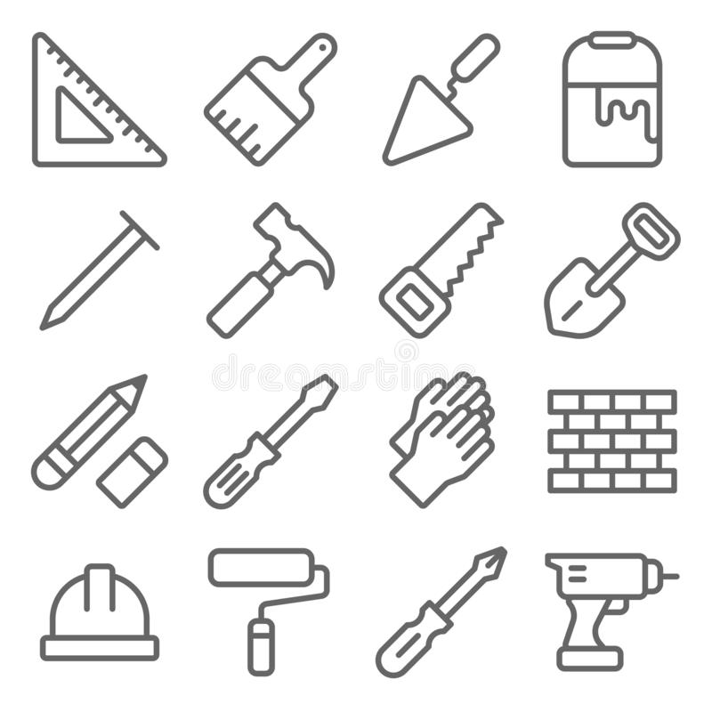 Craftsman Tool Icon Set. Contains such Icons as Ruler, Paint brush, Brick ,Saw, Hammer and more. Expanded Stroke. Craftsman Engineer Tool Icon Set. Contains such vector illustration