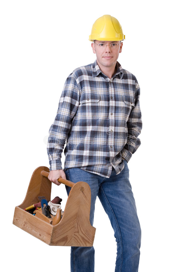 Craftsman with toolbox. Full isolated studio picture from a young craftsman with a tool box stock photos