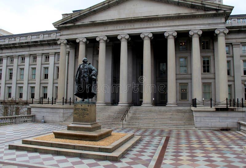 Exterior architecture of historic US Department of Treasury Building, Washington, DC, 2016 royalty free stock photos