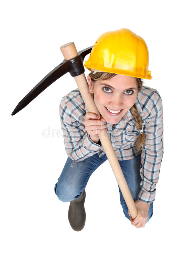 Download Craftswoman holding a pick stock photo. Image of repairman - 26647636