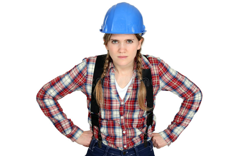 Craftswoman looking angry stock photo