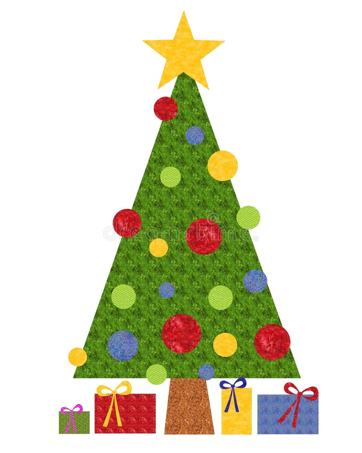Crafty Paper Christmas Tree. An illustration featuring a Christmas tree with gifts which appears as if made from colourful textured craft paper vector illustration