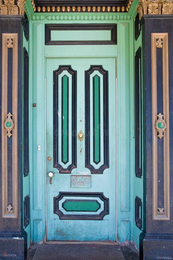 Crafty vintage wooden door stock image