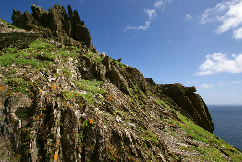 Craggy Cliffs. The rugged and jagged rocks on the island of Skellig Michael, County Kerry, Ireland royalty free stock image