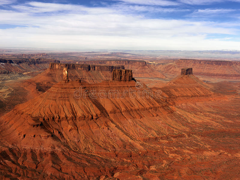 Craggy Landscape. Aerial view of an arid, craggy landscape. Horizontal shot royalty free stock photo