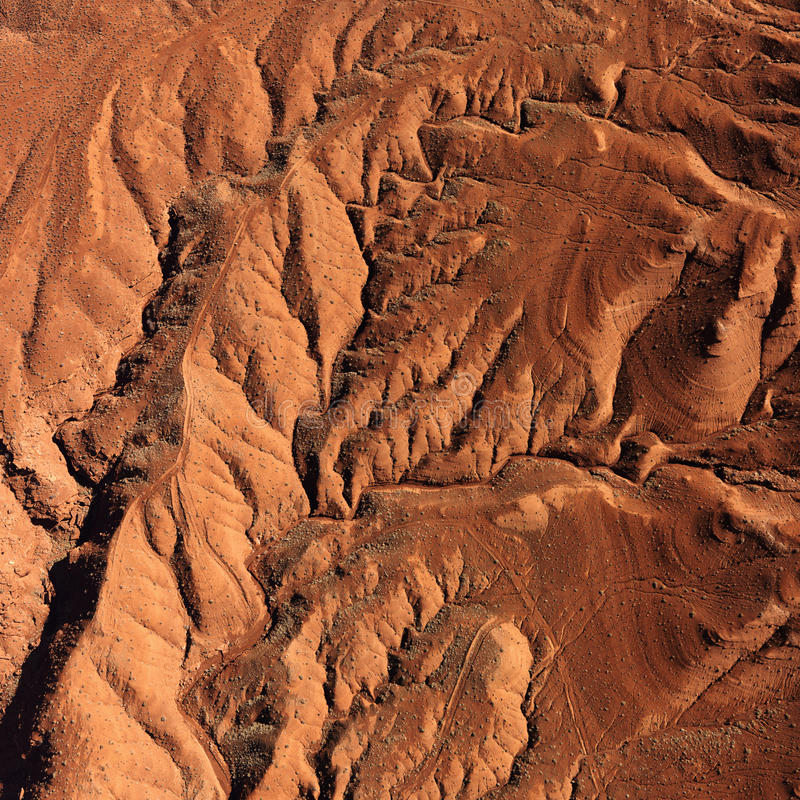 Craggy Landscape. Aerial view of an arid, craggy landscape. Square shot royalty free stock photos