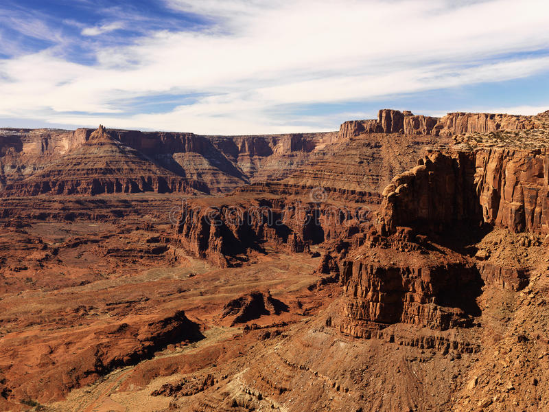 Craggy Landscape. Aerial view of an arid, craggy landscape. Horizontal shot stock image