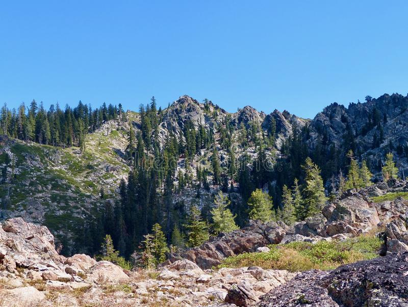 Craggy mountains in the Trinity Divide of Northern California. stock photo