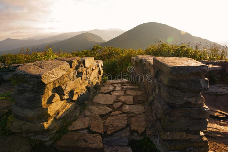 Craggy Pinnacle / Gardens on the Blue Ridge Parkway in the Mountains near Asheville, North Carolina. A Stairway on the summit of a stock image