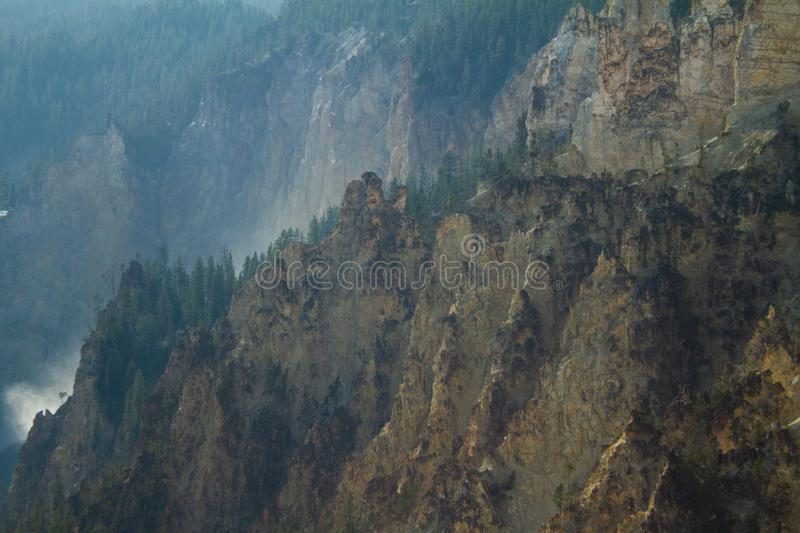 Craggy Rock Faces in the Grand Canyon of Yellowstone royalty free stock photo