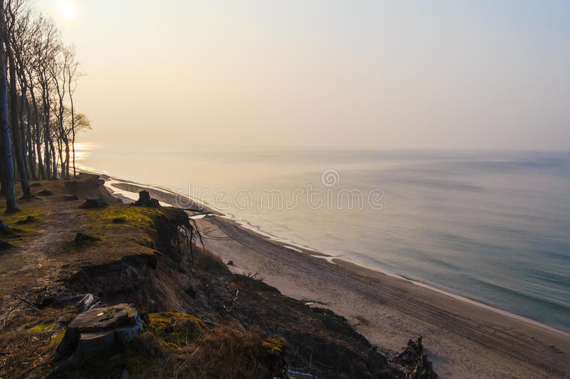 Craggy shore Baltic Sea afternoon stock image
