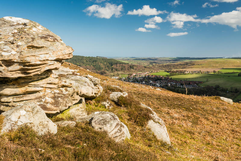 Crags over Rothbury stock photography