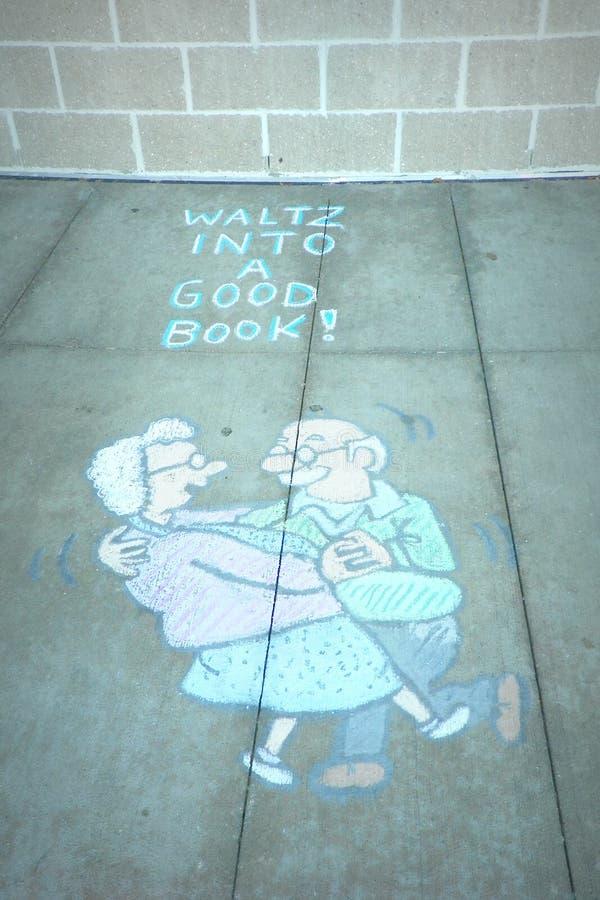 Craie Art Elderly Couple Waltzing photo stock