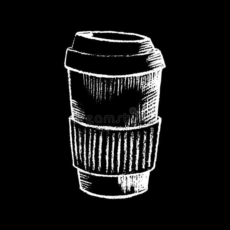 Craie blanche de tasse de papier de café sur l'illustration noire de tableau Grande tasse de café de papier sur le tableau noir illustration de vecteur