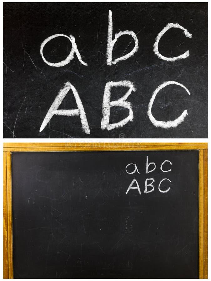 Craie d'ABC d'école de tableau noir écrite images stock