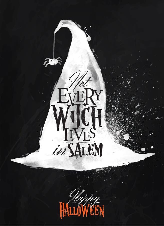 Craie d'affiche de Halloween de chapeau de sorcière illustration libre de droits
