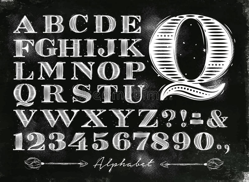 Craie d'alphabet de vintage illustration stock