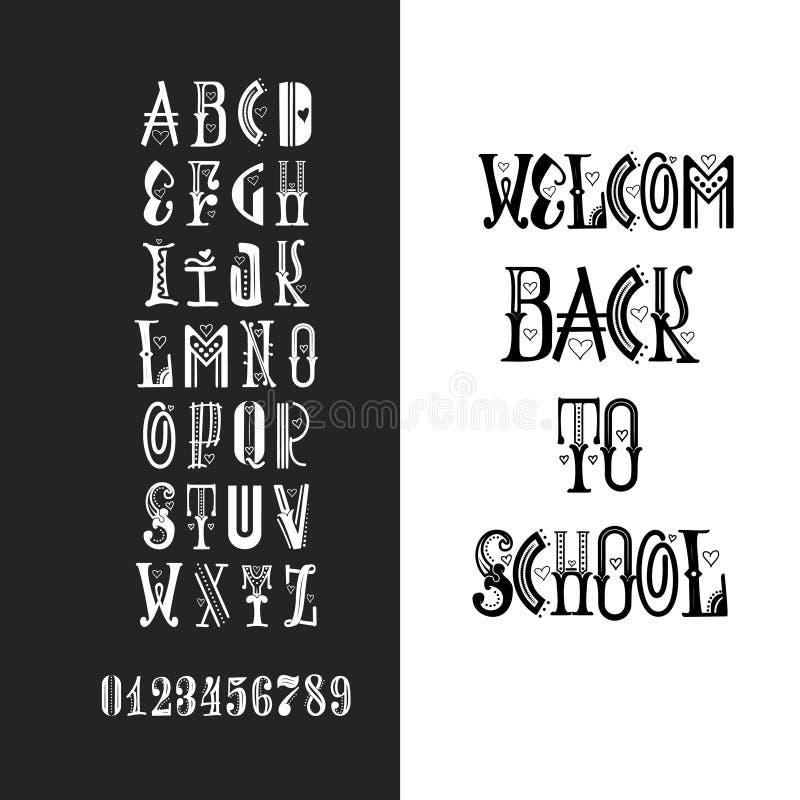 Craie d'alphabet latin - insigne de nouveau à l'école Tendez la couleur de la police 2018 dans le style plat de bande dessinée mi illustration libre de droits