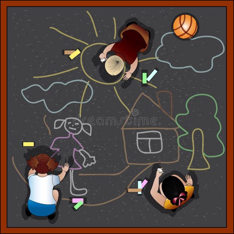 Craie d'aspiration d'enfants sur l'asphalte illustration libre de droits
