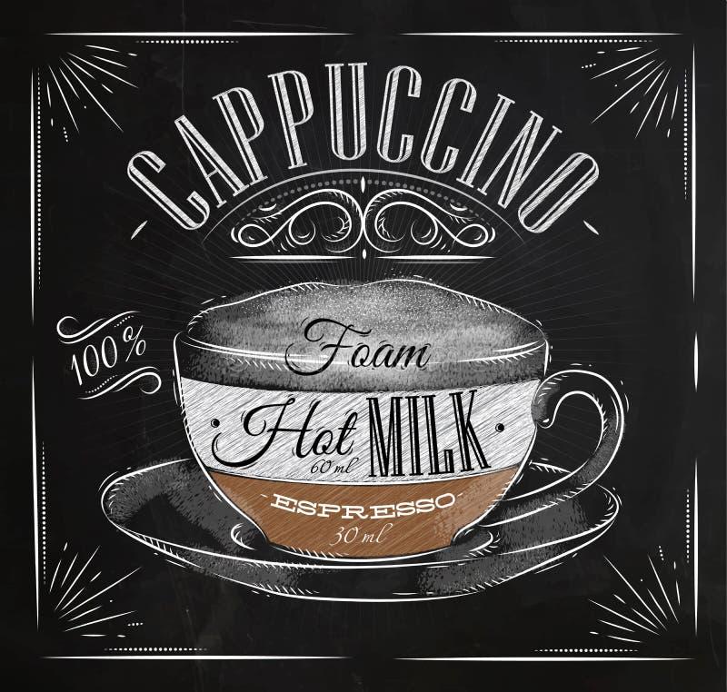 Craie de cappuccino d'affiche illustration stock