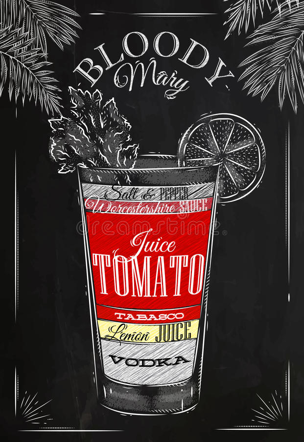 Craie de cocktail de bloody mary illustration de vecteur
