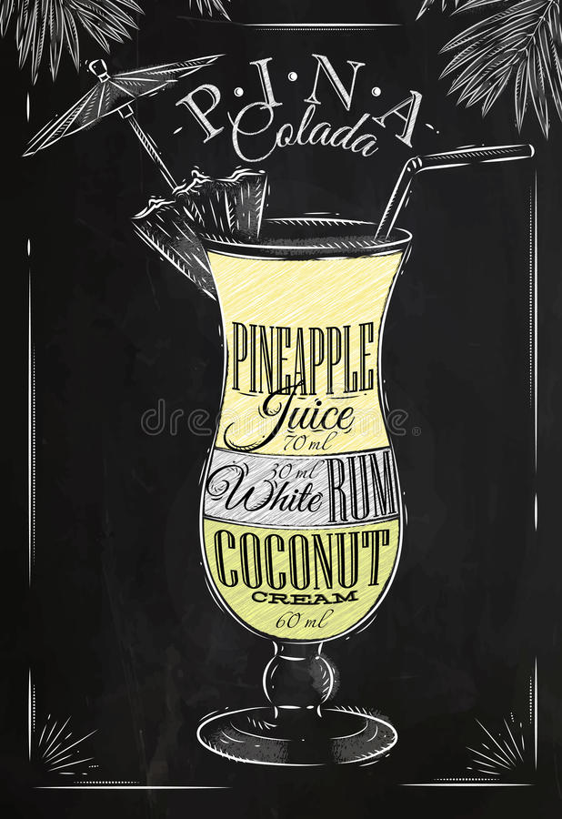 Craie de cocktail de Pina Colada illustration libre de droits