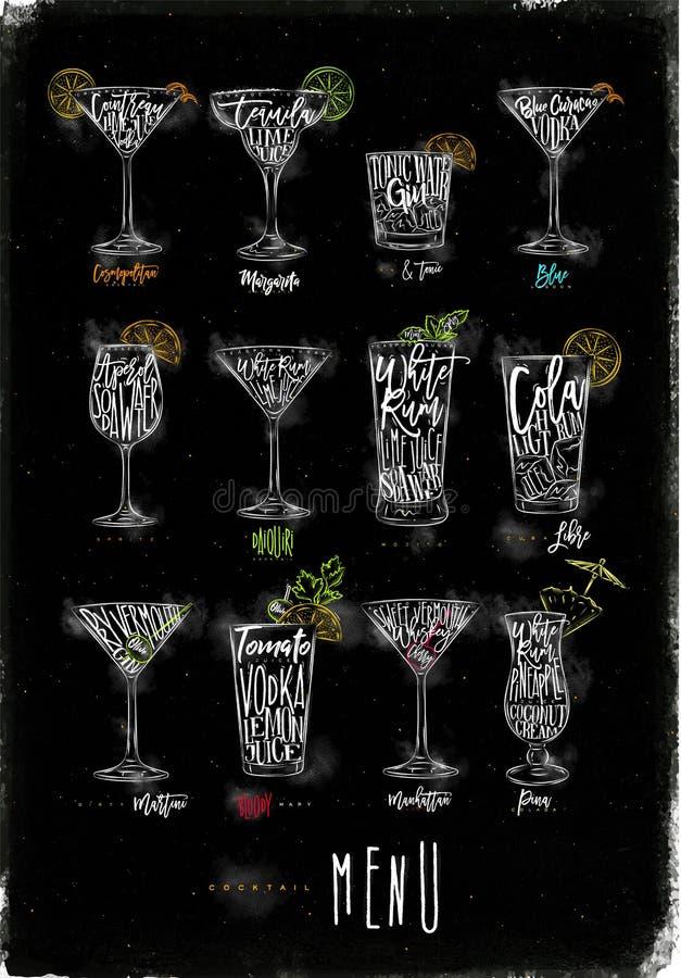 Craie de graphique couleur de menu de cocktail illustration stock