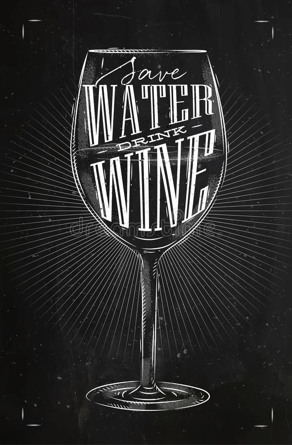 Craie de vin de boissons d'affiche illustration de vecteur