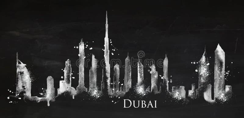 Craie Dubaï de silhouette illustration de vecteur