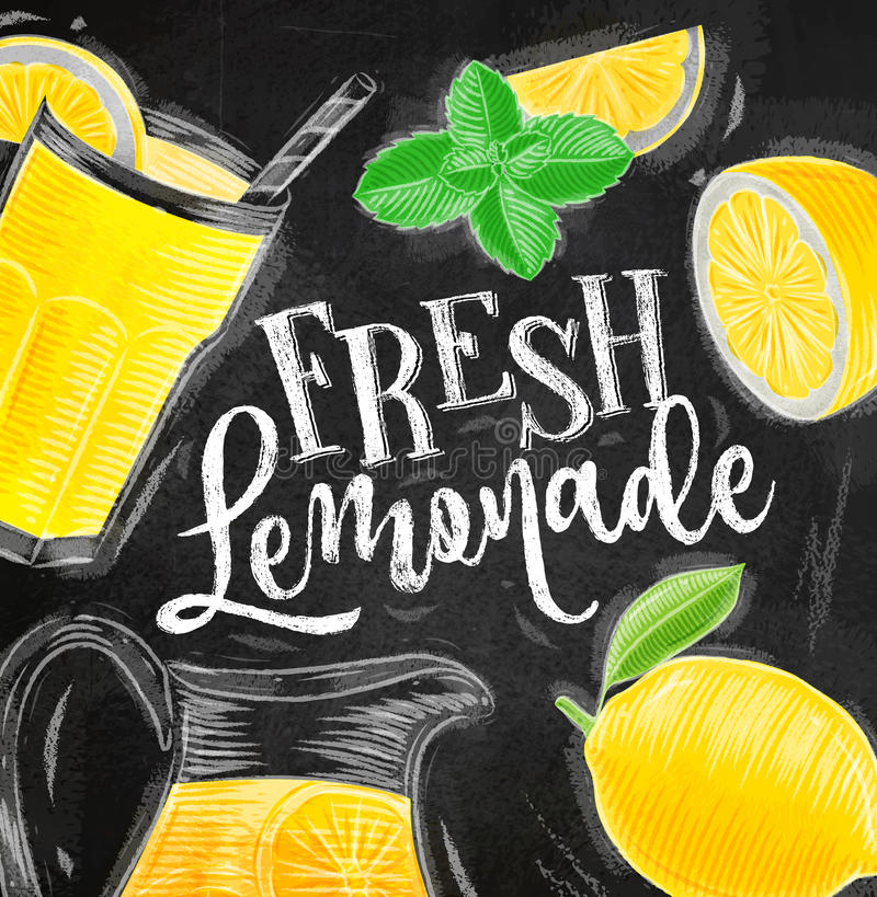 Craie fraîche de limonade d'affiche illustration stock