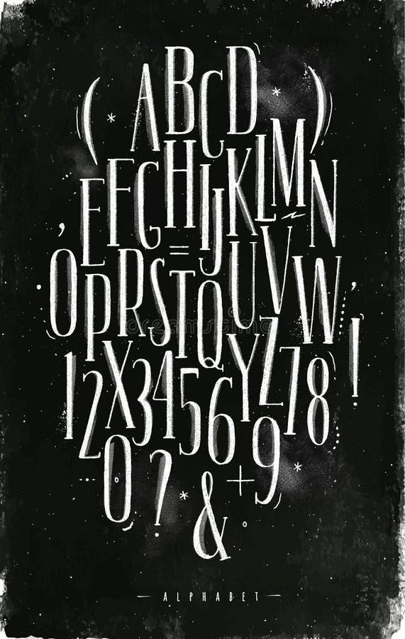 Craie gothique de police d'alphabet illustration stock