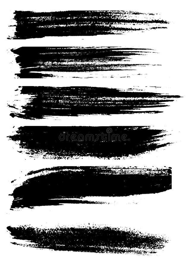 Craie grunge et charbon de bois de brosse illustration de vecteur