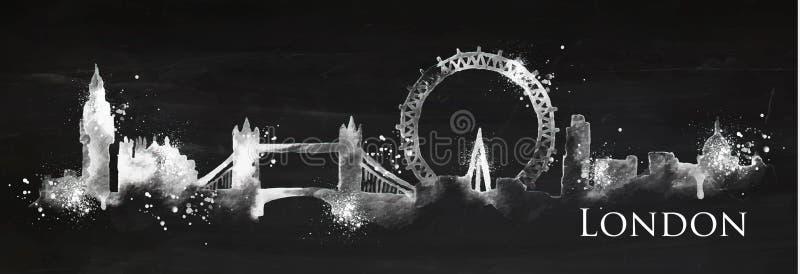 Craie Londres de silhouette illustration stock