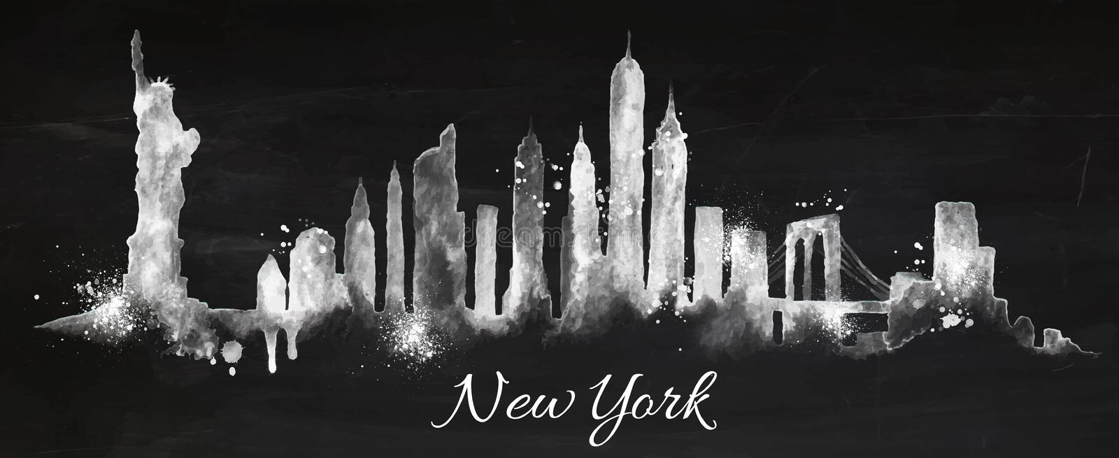 Craie New York de silhouette illustration de vecteur