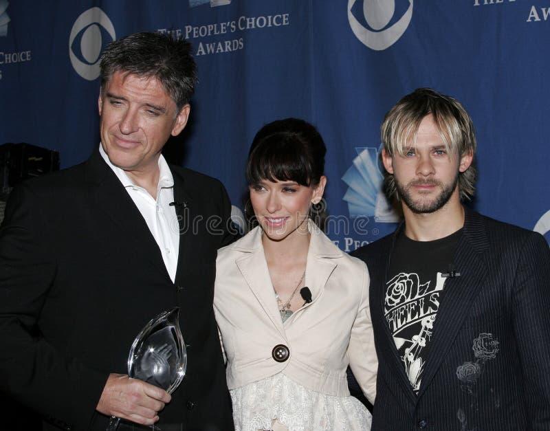 Craig Ferguson, Jennifer Love Hewitt e Dominic Monaghan fotografia de stock