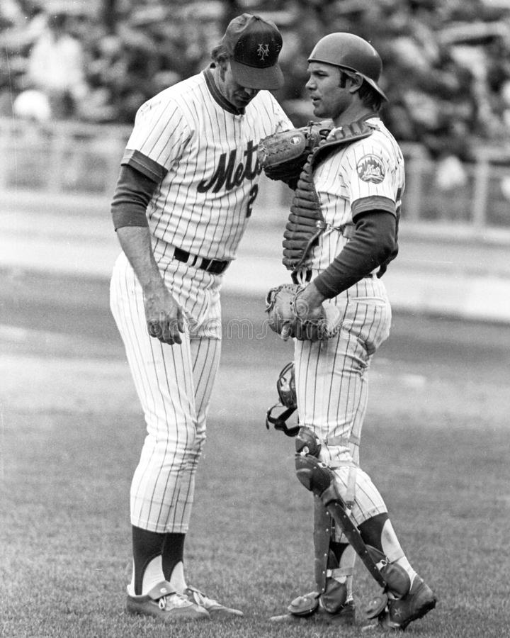 Craig Swan and John Stearns. New York Mets battery Craig Swan and catcher John Stearns. (Image taken from b&w negative royalty free stock photo