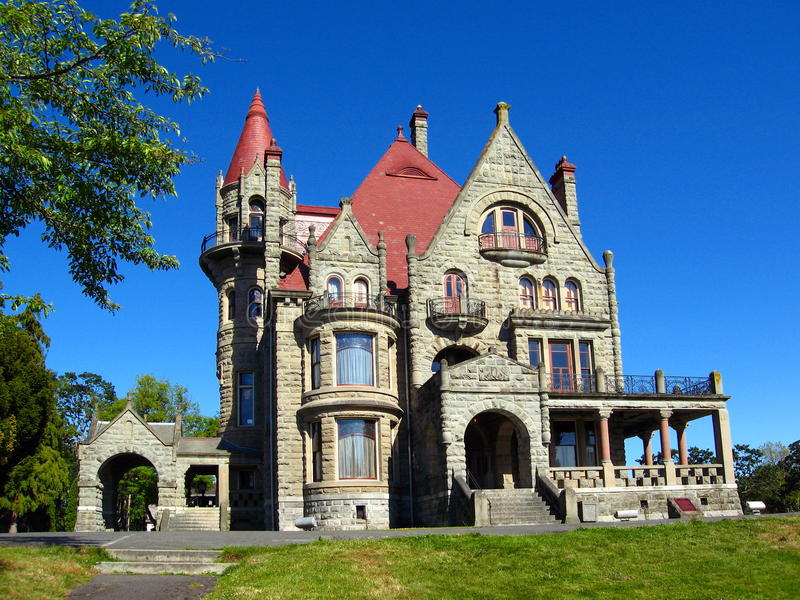 Historic Craigdarroch Castle in the Rockland Area of Victoria on Vancouver Island, British Columbia, Canada. Historic Craigdarroch Castle was once the imposing royalty free stock photography