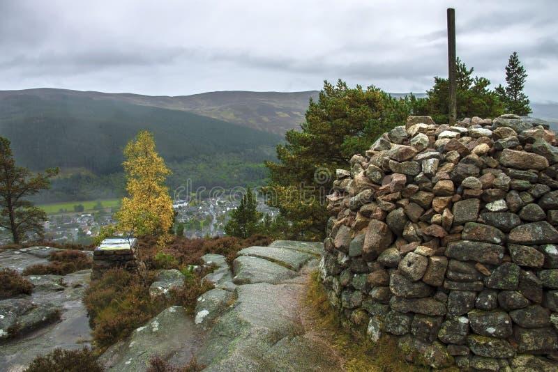 Craigendarroch Hill. Ballater in Royal Deeside. Aberdeenshire, Scotland, UK. Craigendarroch summit. Ballater is a burgh in Aberdeenshire, Scotland on the River stock photography