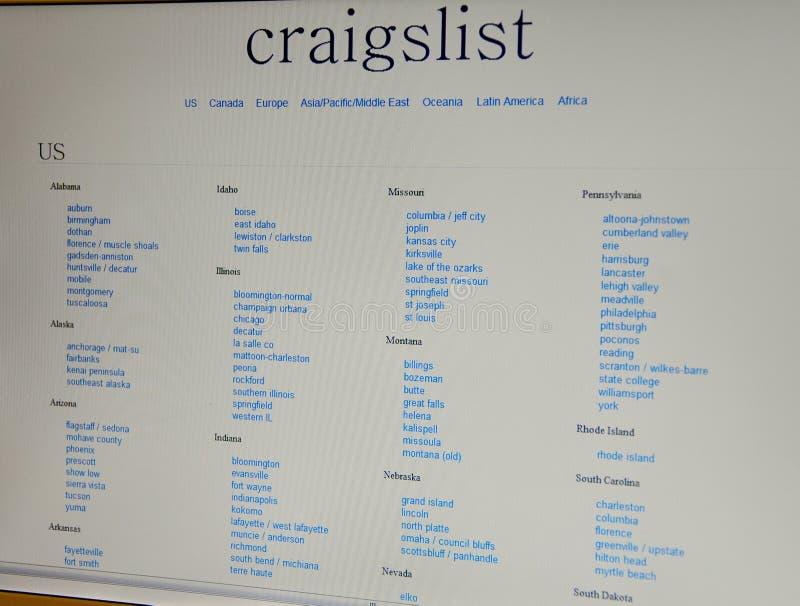 craigslist strona internetowa zdjęcia stock