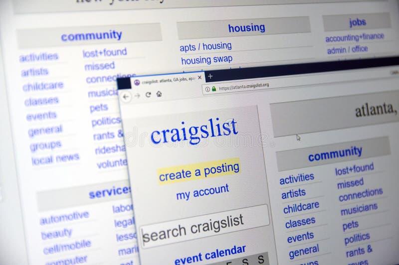 Craigslisthome page stock afbeeldingen