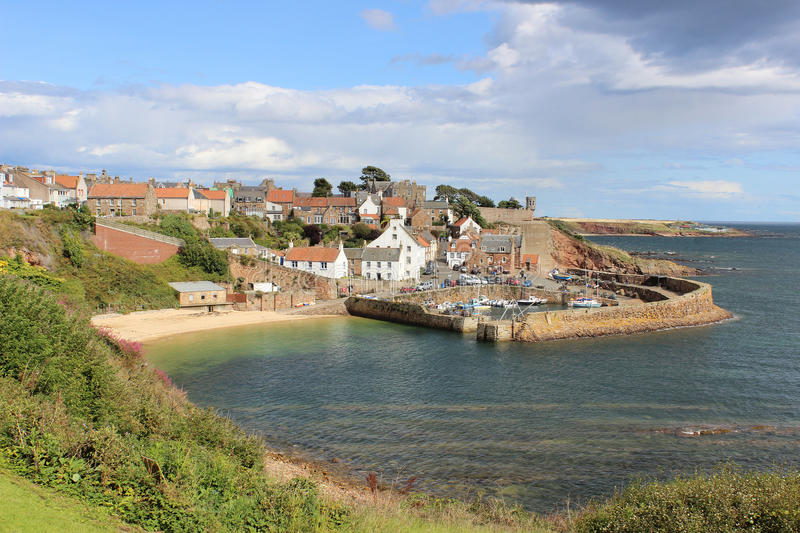 Crail harbour from Fife coastal footpath Scotland royalty free stock photography