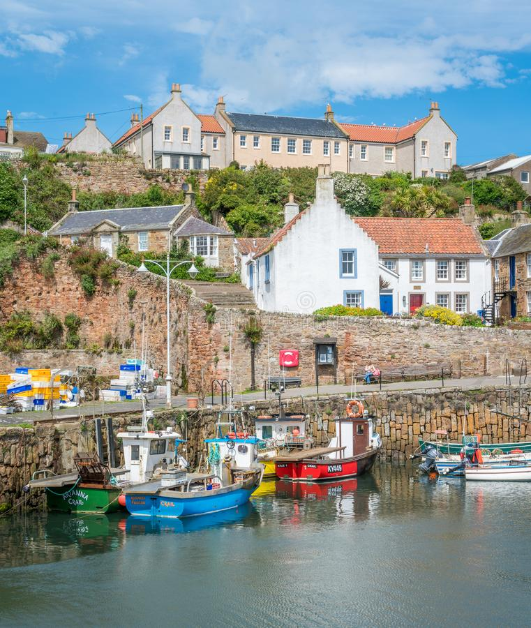 Crail harbour, small fishermen village in Fife, Scotland. Crail; Scottish Gaelic: Cathair Aile is a former royal burgh, parish and community council area in the royalty free stock image