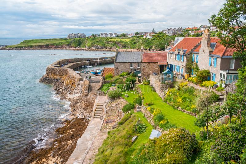 Scenic sight in Crail, small fishermen village in Fife, Scotland. Crail; Scottish Gaelic: Cathair Aile is a former royal burgh, parish and community council stock images