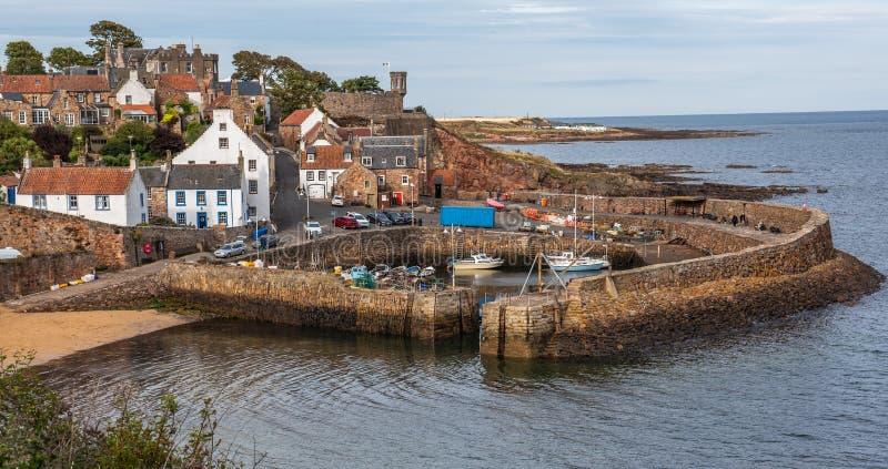 Crailhaven op de Oostkust van Schotland stock afbeeldingen