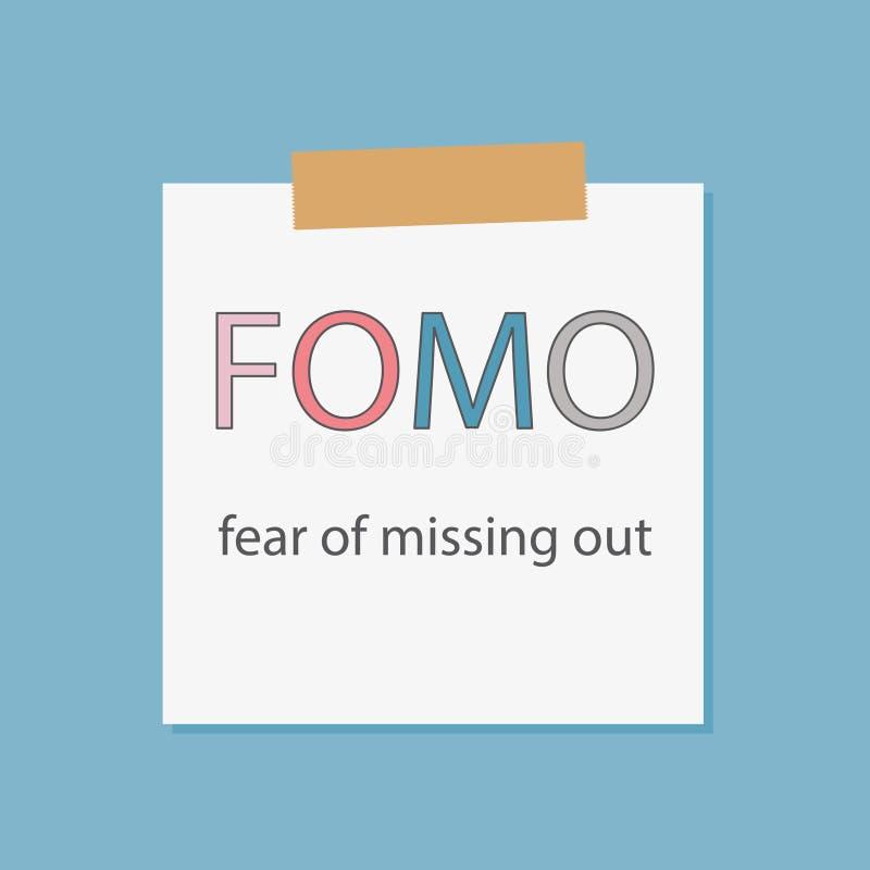 Crainte de FOMO de manquer écrite dans un papier de carnet illustration stock